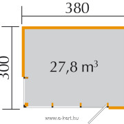 Cubilis gerendaház  380x300 cm alaprajza