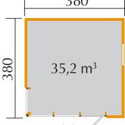 Cubilis gerendaház 380x380cm alaprajza