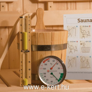 Szauna felöntő kanál, homokóra, szauna hőmérő és higrométer