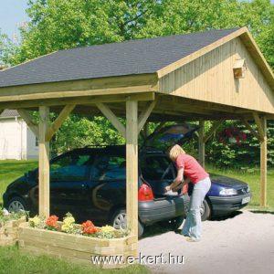 Nyeregtetős dupla garázs zsindely tetővel