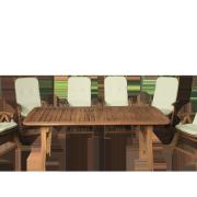 Keményfa kerti bútor pozicionálható székekkel