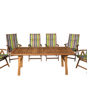 Masszív keményfa kertibútor akár 6-8 karfás székkel is rendelhető