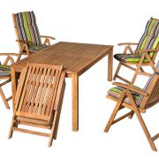 Keményfa kerti bútorok tetszőleges színű párnával rendelhetők