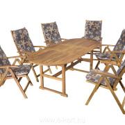 Fa kerti bútor ovális asztallal 90x150/200 cm + 6db szék + 6db székpárna 940