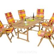 Fa kerti bútor ovális asztallal 90x150/200 cm + 6db szék + 6db székpárna 502