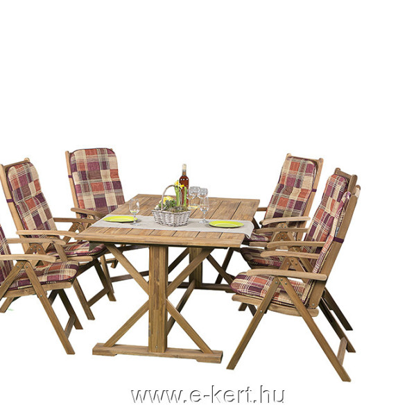 Akácia 6-személyes kerti bútorunk B114 párnákkal
