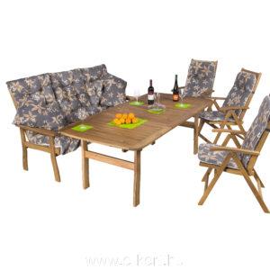 3 személyes pad + 3db 5-pozíciós kerti szék 100x200 cm-es asztallal   940-es párnákkal