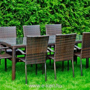 Rattan kerti étkező bútor üveglappal  8 személyes  -  polirattan