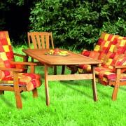 Vastag párnás pados kerti bútor bővíthető asztallal kerti paddal