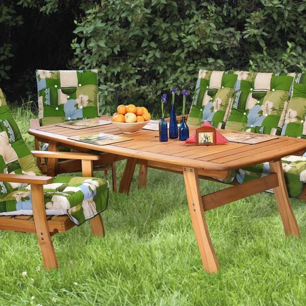 Bővíthető kerti asztal 100x140/200cm + kerti fotel és kerti pad vastag párnákkal együtt házhoz szállítva