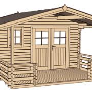 Kerti faház építés a megrendelő elképzelései szerint kétszárnyú ajtóval terassz tetővel vagy nélküle.