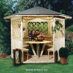 Hatszögletű kerti pavilonunk asztalall és padokkal