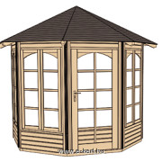Cherie 2 kerti pavilon körben ablakos kivitel 7ablak + ajtó