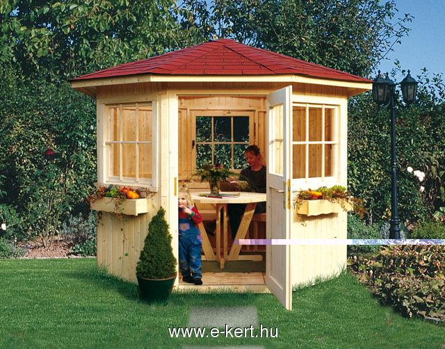 Sylt kerti pavilon asztallal és padokkal