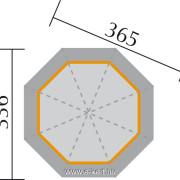 Nyolcszögletű kerti pavilon alaprajza