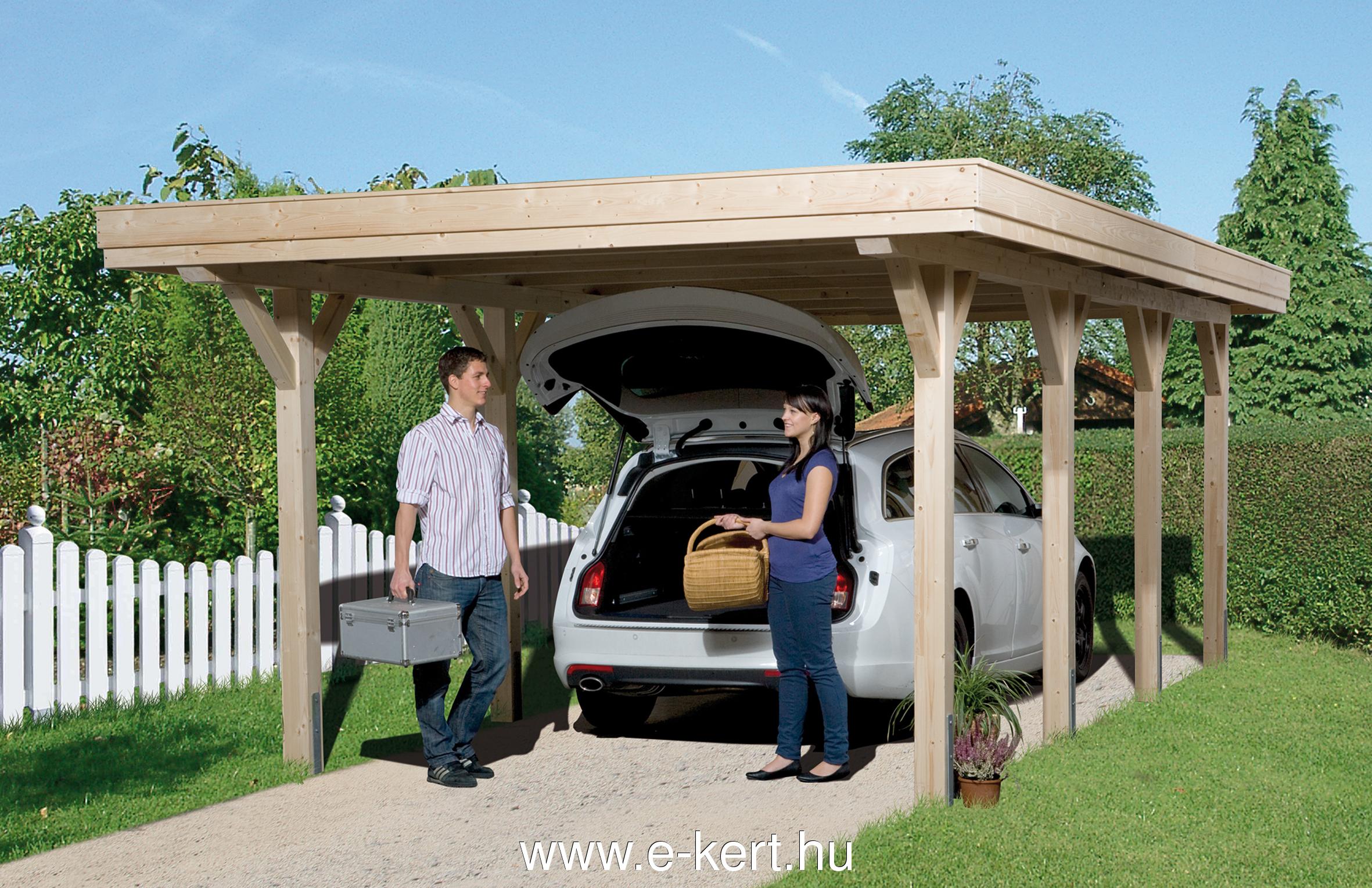 Nyitott garázs készre szerelve, acéllemez tetővel