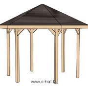 Hatszögletű pavilon szerkezeti rajza