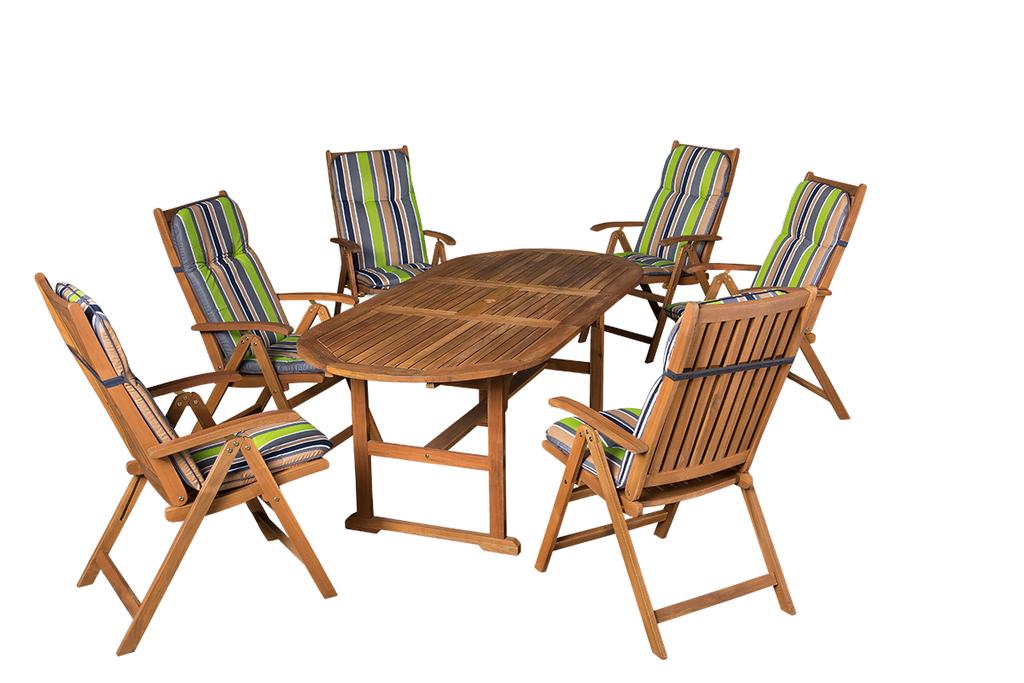 Akácia kerti bútor ovális asztalla +pozíciós székekkel 654-es kerti párnákkal
