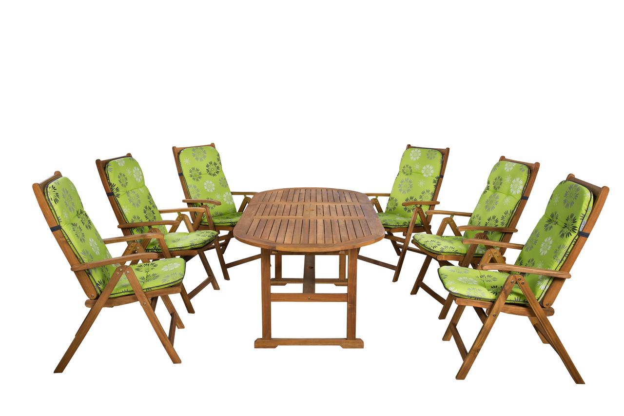Keményfa kerti bútor 656-os nyugszékpárnákkal