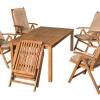 Fa kerti bútor összecsukható karfás székekkel
