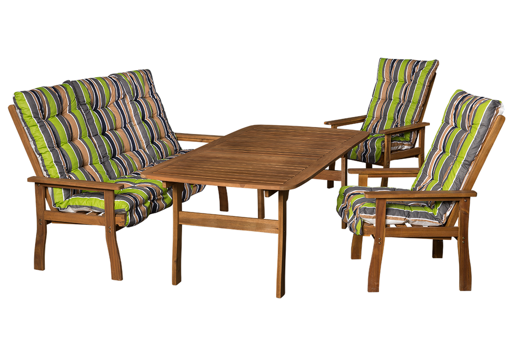 Masszív keményfa kerti bútor 656-os párnákkal.