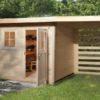 Fatárolóval épített szerszámtároló faház Weka 170-es típus