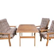 Fa kerti bútor bővíthető asztallal fotelekkel és 10cm vastag D002-es párnákkal