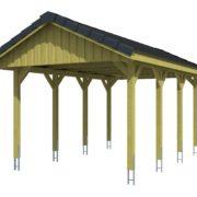 Nyitott garázs építés nyeregtetős kivitelben zsindelyezett garázs tetővel