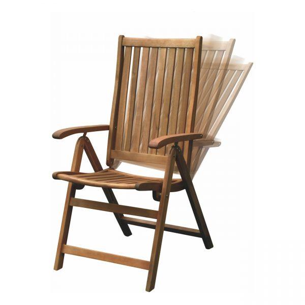 5-pozíciós kerti szék, keményfa karfás szék