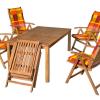 Összecsukható kerti székek keményfa kerti asztallal 502-es párnákkal