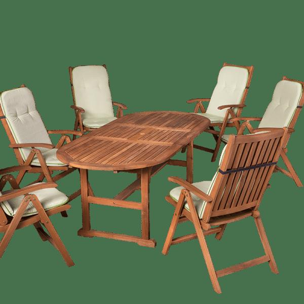 6-8-személyes fa kerti bútor garnitúra összecsukható székekkel