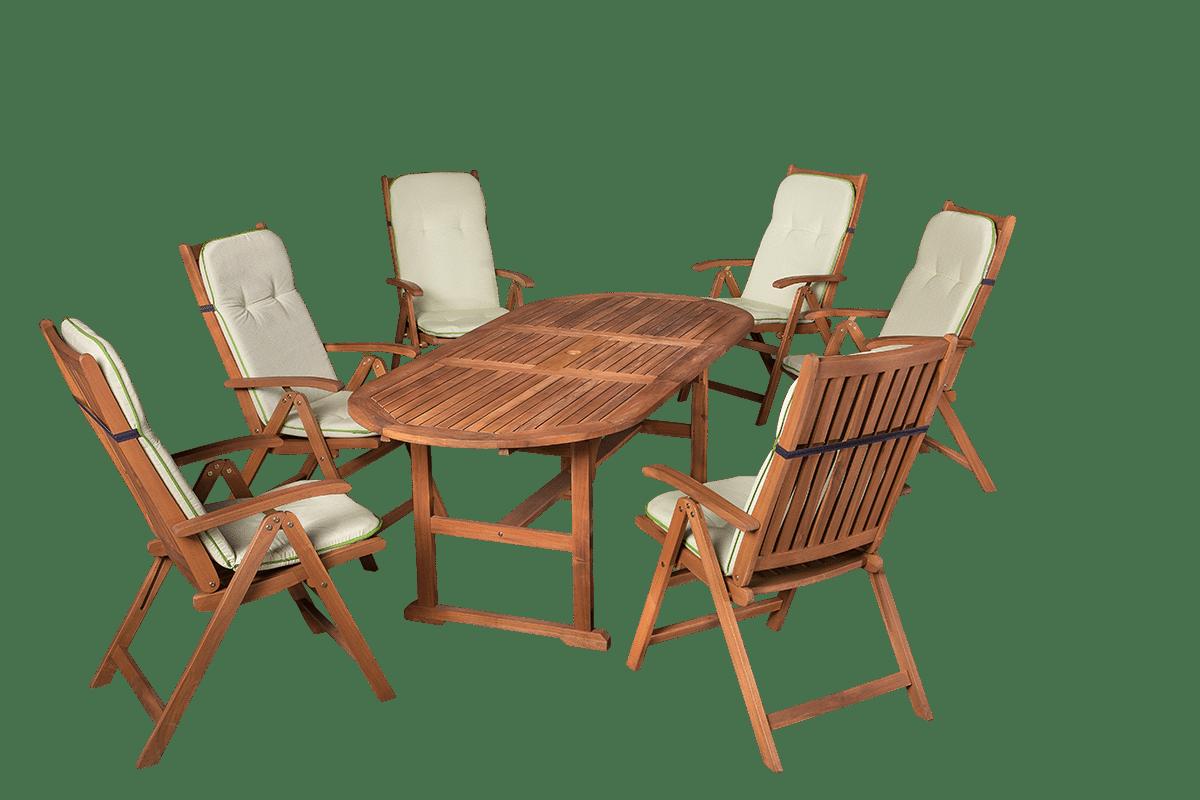 Ovális fa kerti asztal székekkel és kerti párnákkal - E-kert