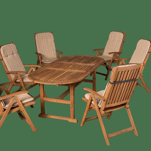 Ovális fa asztal a teraszra hatszemélyes kerti bútor párnákkal