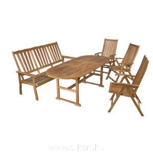 Összecsukható székek és masszív kerti pad keményfából