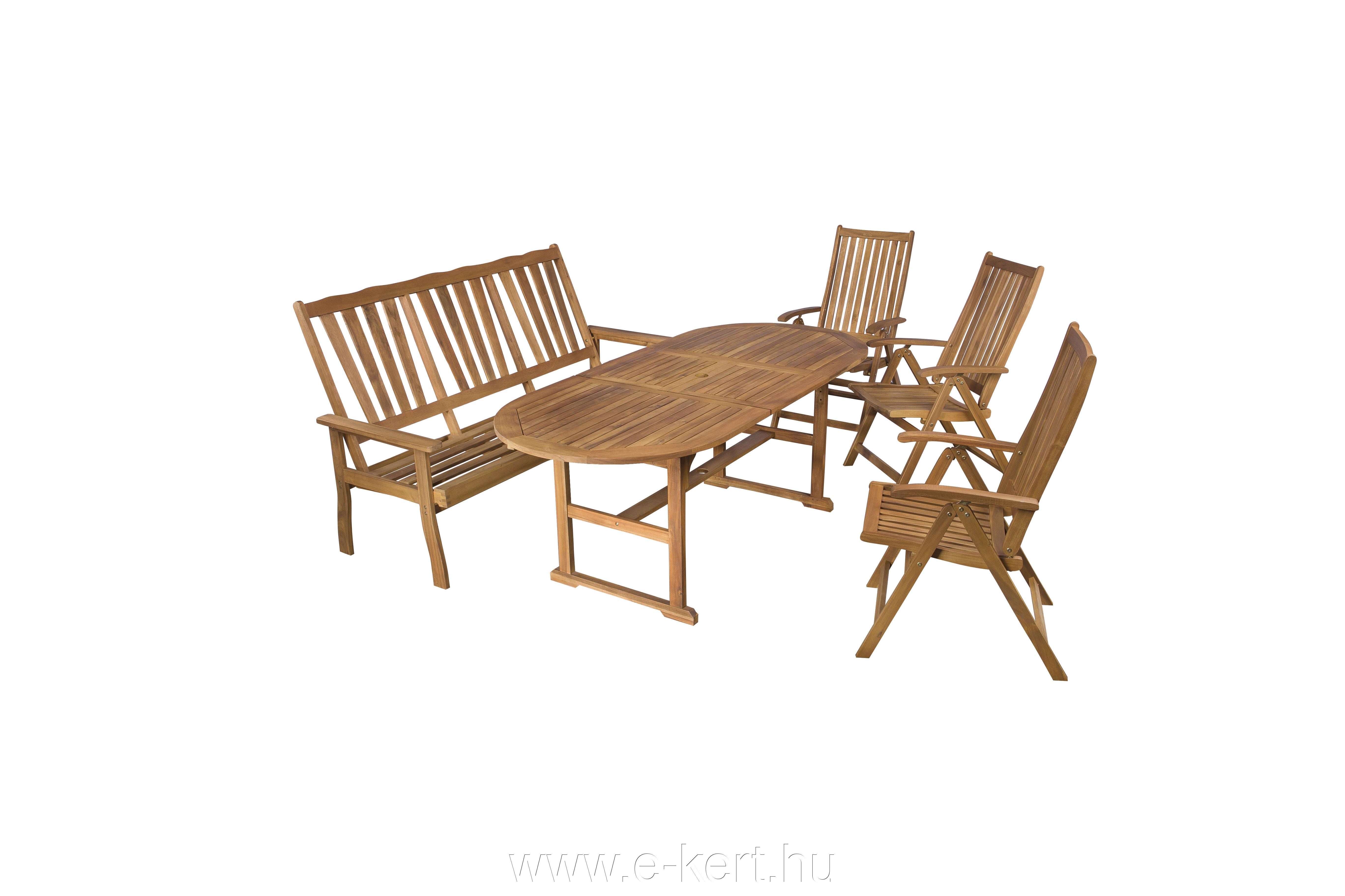 Fa kerti bútor ovális asztal+pad +székek - E-kert