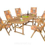 Kerti fa bútor ovális asztallal 90x150/200 cm  + 6db szék + 6db székpárna 924