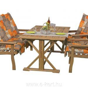 Pados kerti garnitúra X-lábú kerti asztallal