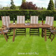 Relax 6-személyes kerti bútor csíkos szék párnákkal