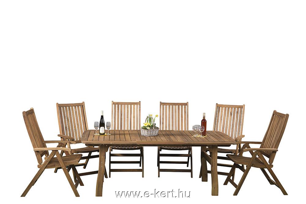 6-személyes kerti Relax bútor, 5-pozíciós összecsukható székekkel,  párnák nélkül