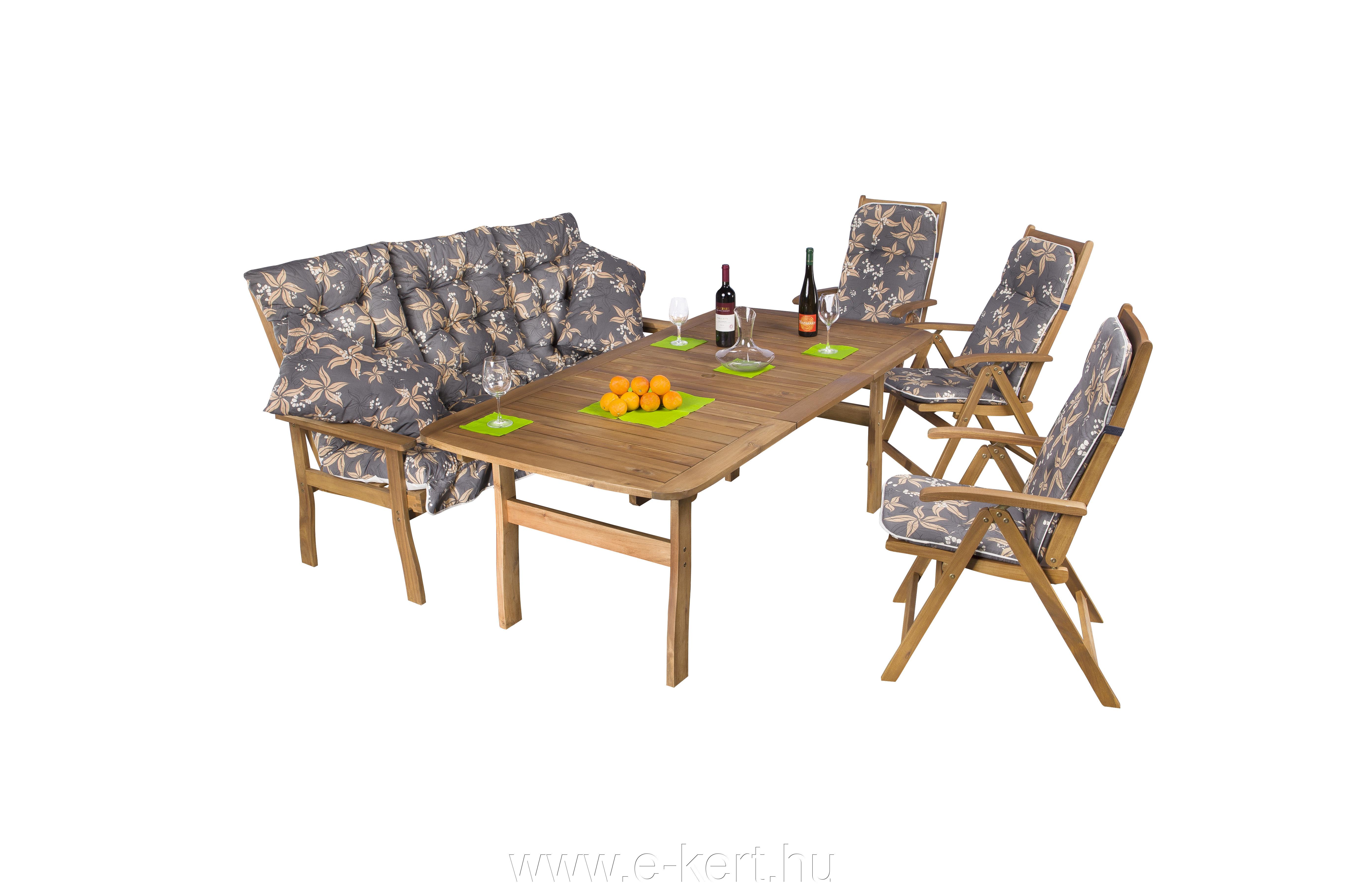3 személyes pad + 3db 5-pozíciós kerti szék 100×200 cm-es asztallal   940-es párnákkal