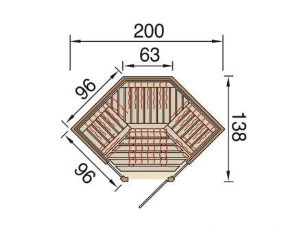 Helytakarékos sarok kivitelű infraszauna építés