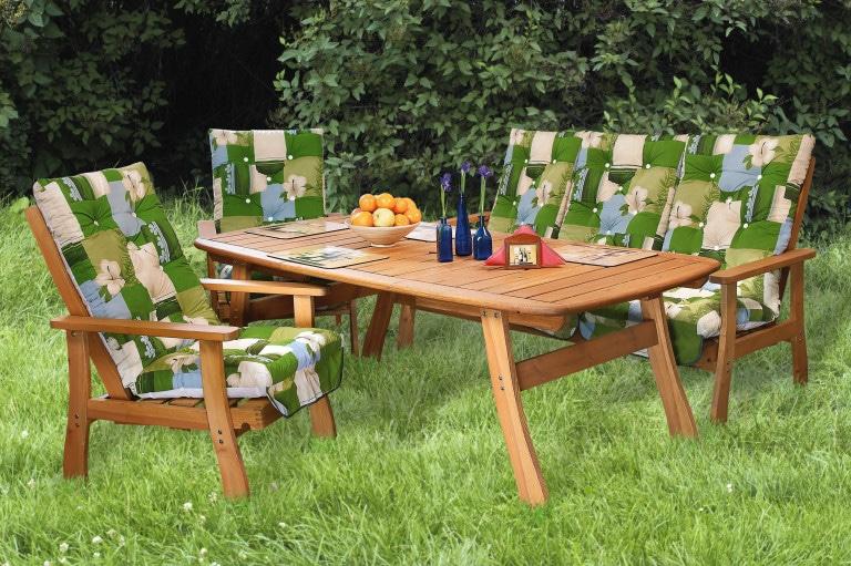 Fenyő kerti bútor 100x140/200cm + kerti fotel és kerti pad vastag párnákkal együtt