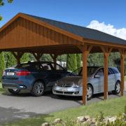 Nyitott garázs Nyeregtetős zsindelytetős fa garázs építés