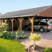 Fa garázs építés, nyitott garázs Sauerland típus
