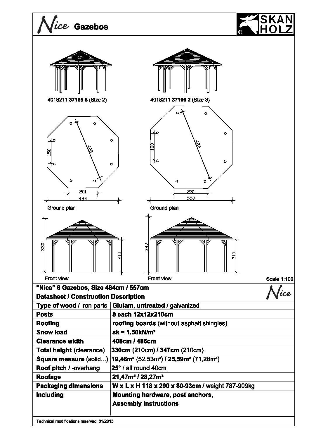 Nyolcszögletű kerti pavilon Nice371 -