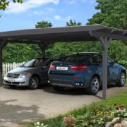 Nyitott dupla garázs polikarbonát tetővel