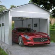 Zárt garázs garázskapuval