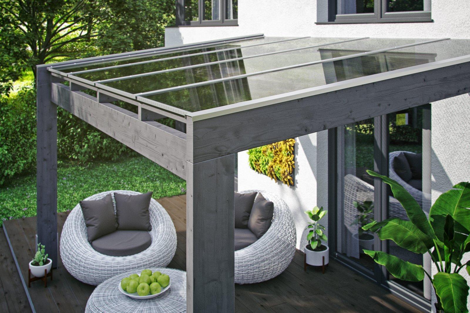 Novara terasz tető polikarbonát héjalással szürke