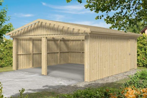 Kétállásos zárt garázs faház Falun