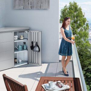 Cornerboard zárható sarok szekrény teraszra